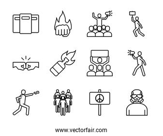 bundle of twelve protest set icons