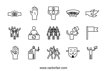 bundle of fifteen protest set fifteen icons