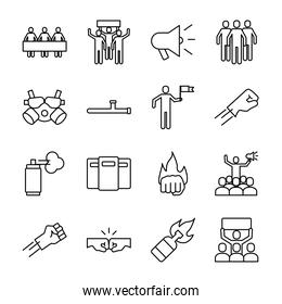 bundle of sixteen protest icons pack