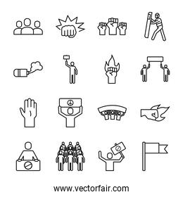 bundle of sixteen protest set collection icons