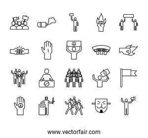 bundle of twenty protest set collection icons