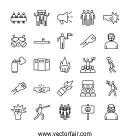 bundle of twenty five protest set icons