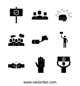 bundle of nine protest set icons, silhouette style