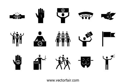 bundle of fifteen protest set icons