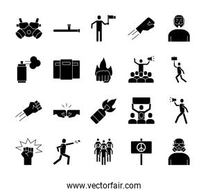 bundle of twenty protest set icons