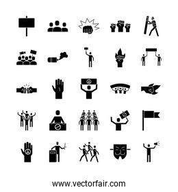 bundle of twenty five protest set collection icons