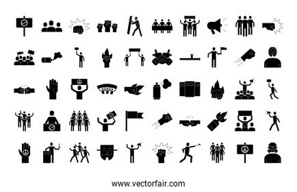 bundle of fifty protest set icons