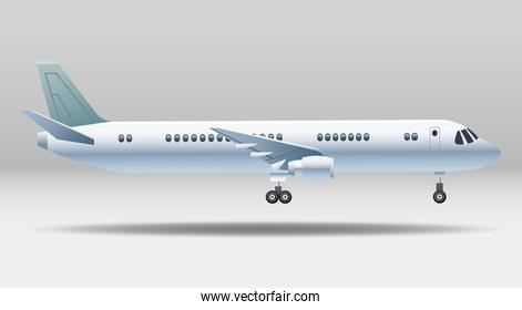white airplane transport isolated icon