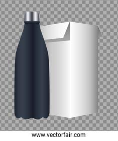 bottle and box products packings branding icon