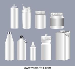 differents bottles packings products branding