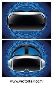 two virtual reality masks accessories with blue background