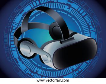 virtual reality mask accessory with blue background