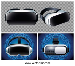 four virtual reality masks accessories with checkered and blue background