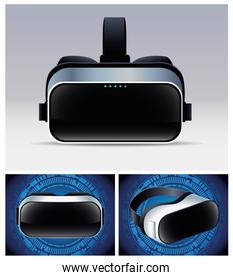 three virtual reality masks accessories with gray and blue backgrounds