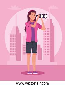 tourist woman standing with binoculars on the city character