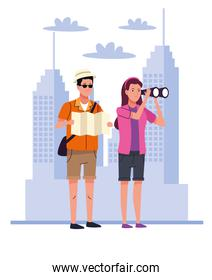 tourists couple with binoculars and papermap on the city characters