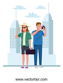 tourists couple with camera and handbag on the city characters