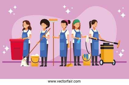 housekeeping team female workers with equipment tools