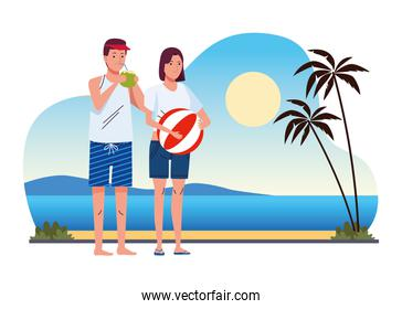 young couple wearing swimsuits with coconut cocktail and balloon on the beach scene