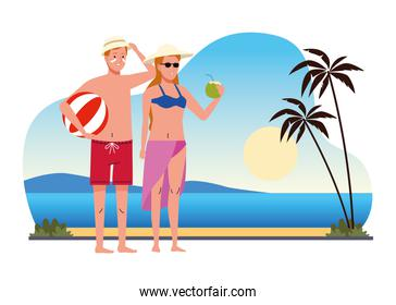 couple wearing swimsuits with coconut cocktail and balloon on the beach scene