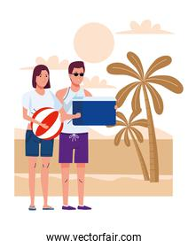 young couple wearing swimsuits with balloon and fridge box on the beach