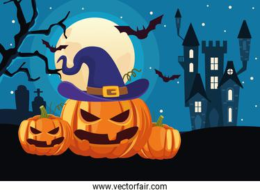 happy halloween card with castle and pumpkins