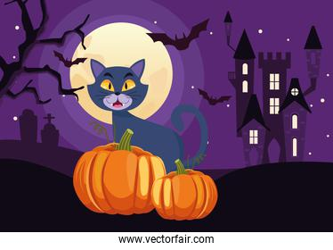 happy halloween card with cat and pumpkin in castle scene