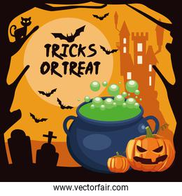 halloween tricks or treat lettering with cauldron witch