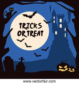 halloween tricks or treat lettering with castle