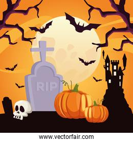 happy halloween card with skull and pumpkin in cemetery