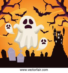 happy halloween card with ghosts floating in cemetery scene