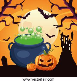 happy halloween card with cauldron and pumpkins