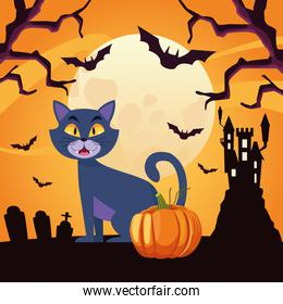 happy halloween card with cat and pumpkin in castle