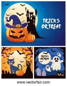 halloween tricks or treat lettering with castle and ghosts floating scenes