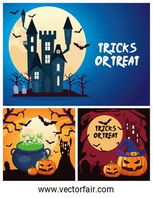 halloween tricks or treat lettering with cauldron and pumpkins in castle scenes