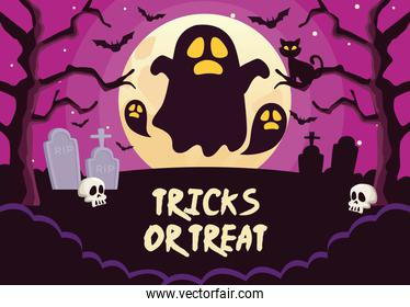 halloween tricks or treat lettering with ghosts in cemetery