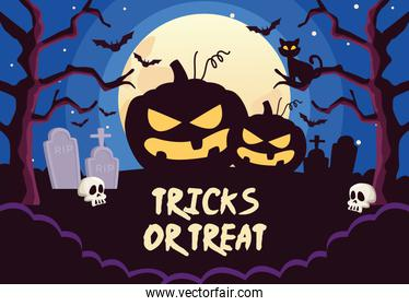 halloween tricks or treat lettering with pumpkins in cemetery night scene
