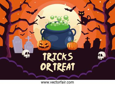 halloween tricks or treat lettering with cauldron witch in cemetery