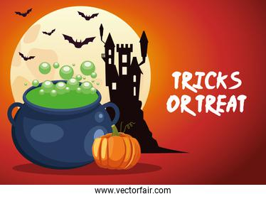 halloween tricks or treat lettering with cauldron witch and castle