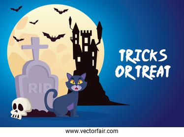 halloween tricks or treat lettering with castle and cat in cemetery