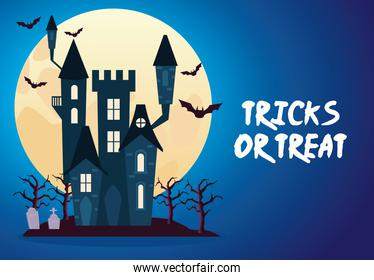 halloween tricks or treat lettering with castle night scene