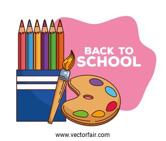 back to school lettering with colors pencils and paint pallette