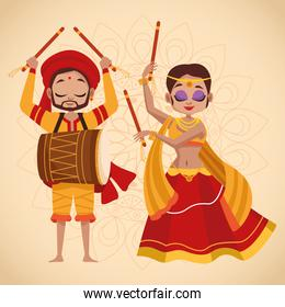 happy navratri celebration card couple dancing and playing drum