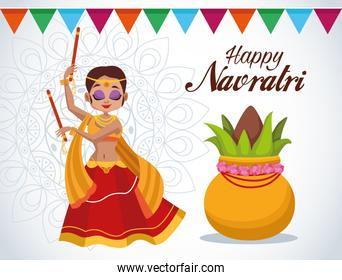 happy navratri celebration card lettering with beautifull woman dancing and garlands