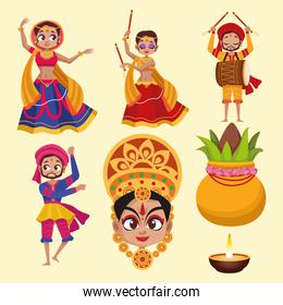 happy navratri celebration card with group of dancers and plant