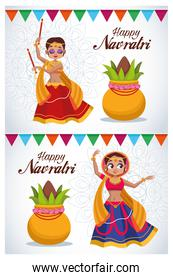 happy navratri celebration card letterings with girls dancing
