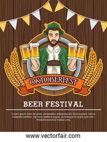 happy oktoberfest celebration card with german man drinking beers in wooden background