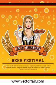 happy oktoberfest card with beautiful woman eating sausages