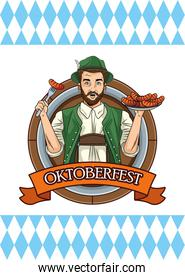 happy oktoberfest card with german man eating sausages