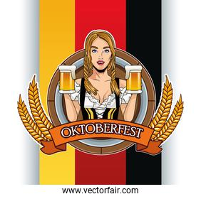 happy oktoberfest card with beautiful woman drinking beers